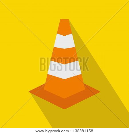 Traffic cone icon in flat style on a yellow background