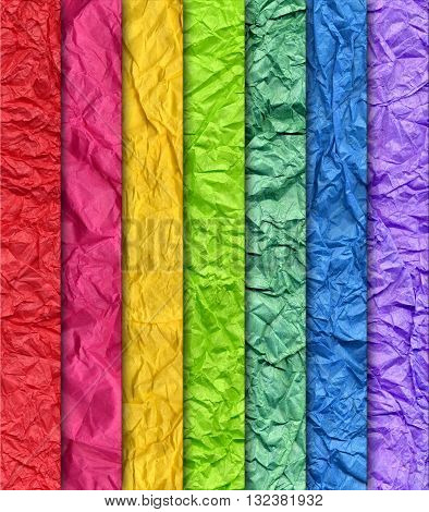 This is a wrinkled Rainbow paper background