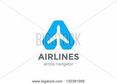 Airplane Navigator Pointer Logo abstract design vector