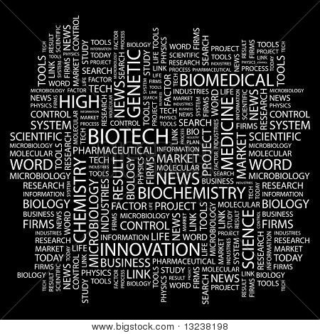 BIOTECH. Word collage on black background. Illustration with different association terms.