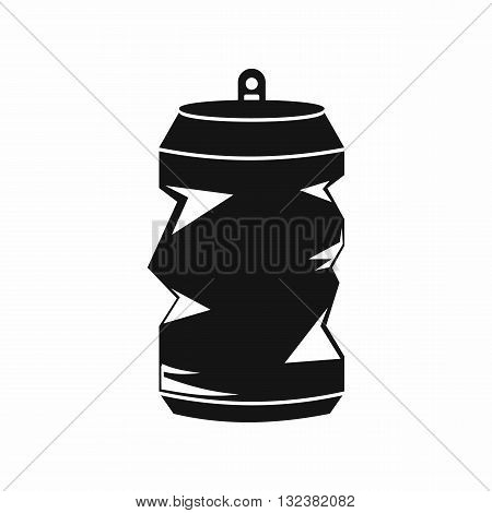 Crumpled aluminum cans icon in simple style isolated on white background