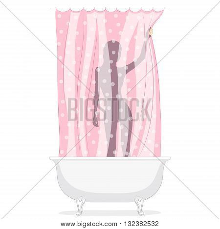 Female silhouette behind curtain in bathroom. Washing water procedures
