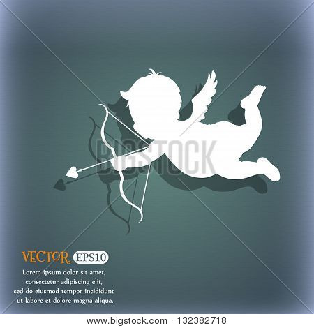 Cupid Icon. On The Blue-green Abstract Background With Shadow And Space For Your Text. Vector