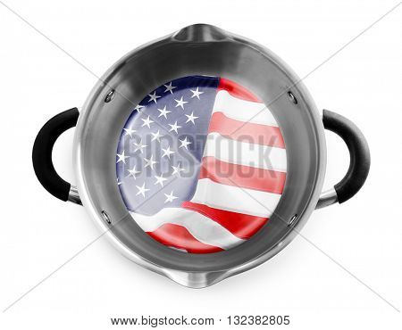 Metal pan isolated on white. American cuisine food concept