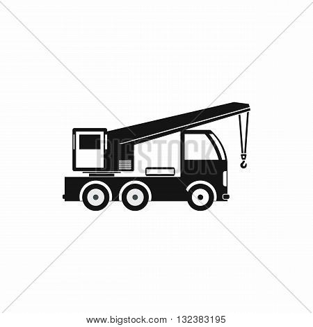 Truck mounted crane icon in simple style isolated on white background