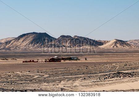 Farm settlement in Black Desert near the Bahariya Oasis in Egypt.