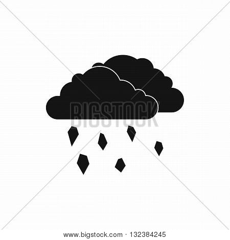 Clouds and hail icon in simple style isolated on white background