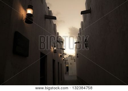 A narrow corridor of an ancient architecture for Sharjah, UAE.