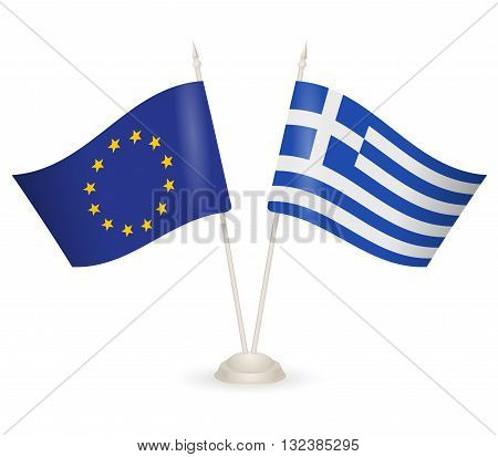 Table stand with flags of Greece and European Union. . Symbolizing the cooperation between the two countries.