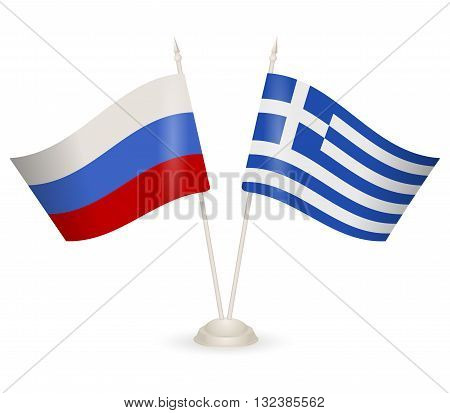 Table stand with flags of Greece and Russia. Symbolizing the cooperation between the two countries.