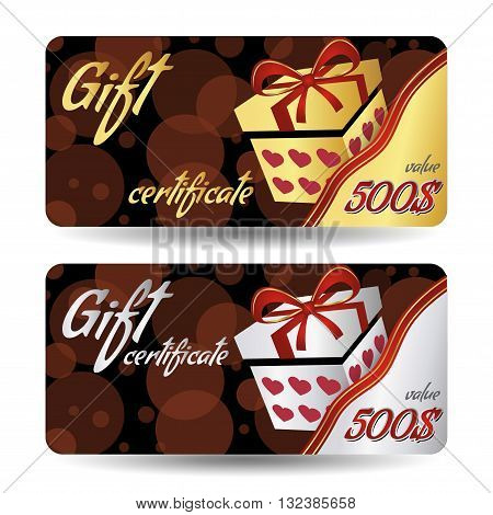 Beautiful Gift certificate. Gift and ribbon. Cute gift voucher certificate coupon design template, Collection gift certificate business card banner.