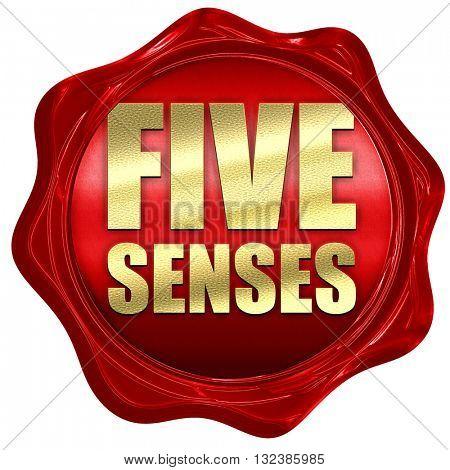 five senses, 3D rendering, a red wax seal