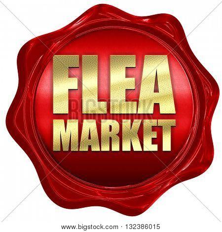 flea market, 3D rendering, a red wax seal