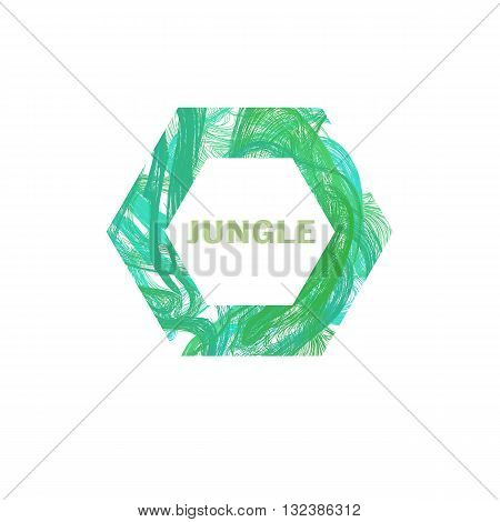 Jungle logo design. Green Jungle logo business template. Summer tropical background of palm leaves. Vector.