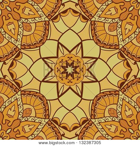 Oriental yellow pattern of mandala. Vector seamless background. Template for textile carpet wallpaper shawls.