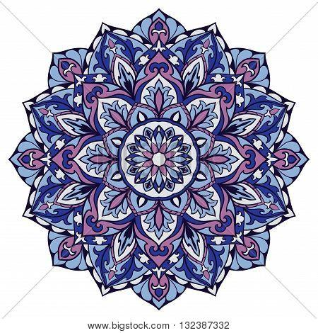 Ornamental round pattern. Oriental decorative element. Vector blue and lilas mandala.