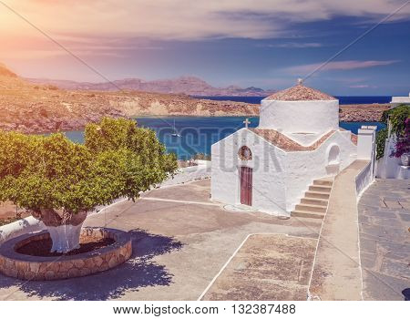 antique small church in the Lindos, Rhodes island,Greece
