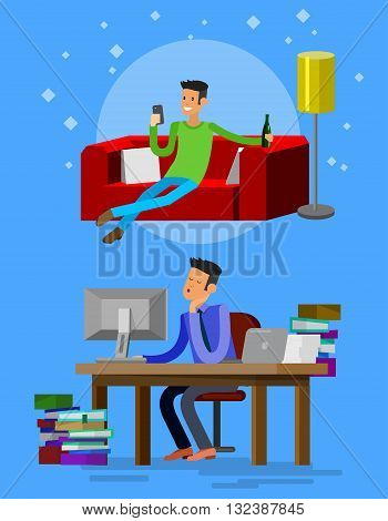 Vector detailed character corporate business worker sitting behind desk and dream about vacation on sofa. Office worker sleeps at work. Cool flat  illustration. Vector business Office worker