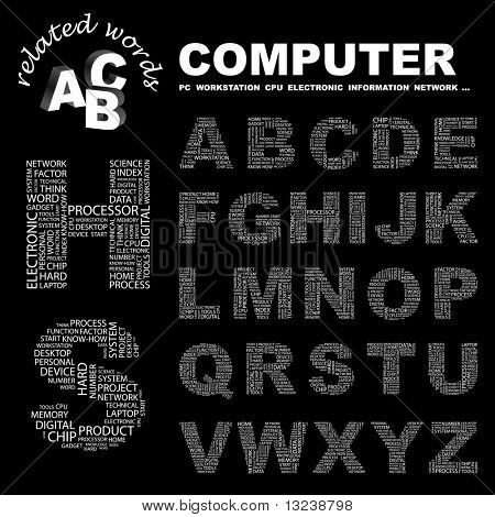 COMPUTER. Vector letter collection. Illustration with different association terms.