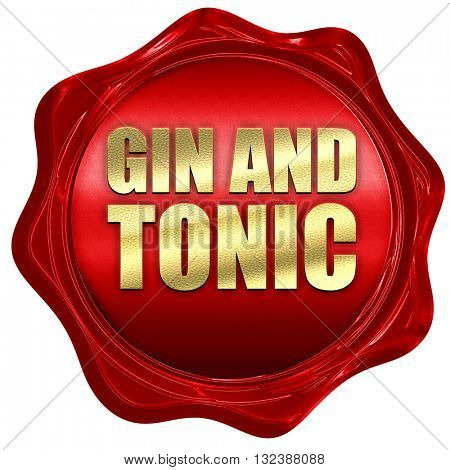 gin and tonic, 3D rendering, a red wax seal