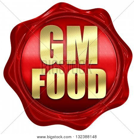 gm food, 3D rendering, a red wax seal