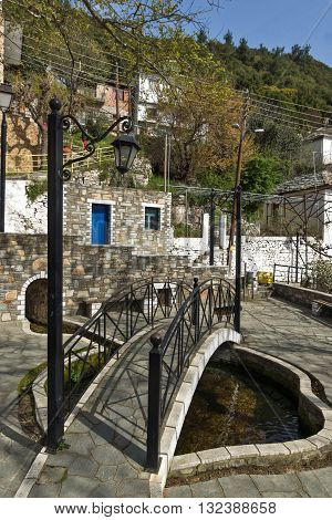 Small Bridge and center of village of Panagia, Thassos island,  East Macedonia and Thrace, Greece