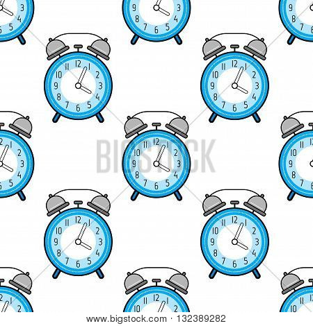 Alarm clock, flat colored icon. Seamless pattern with clocks. Vector illustration