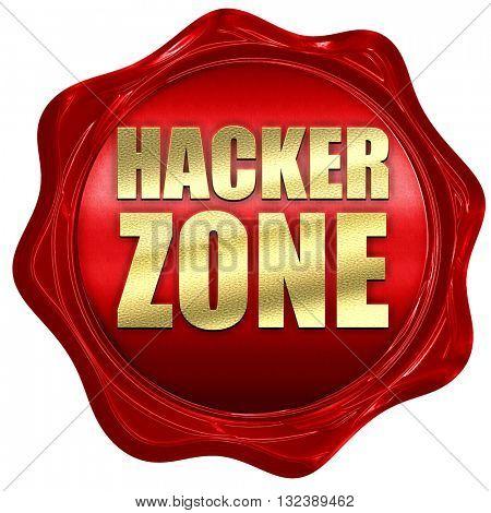 hacker zone, 3D rendering, a red wax seal