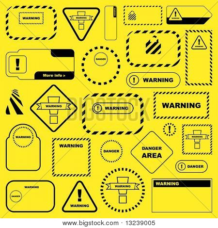 Warning signs. Vector collection.