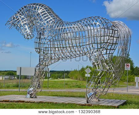 BROMONT QUEBEC CANADA JUNE 01 2016: By Mathieu Isabelle new statue in Bromont. The home of the Parc equestre Olympique de Bromont, equestrian park.