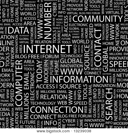 INTERNET. Seamless vector pattern with word cloud.