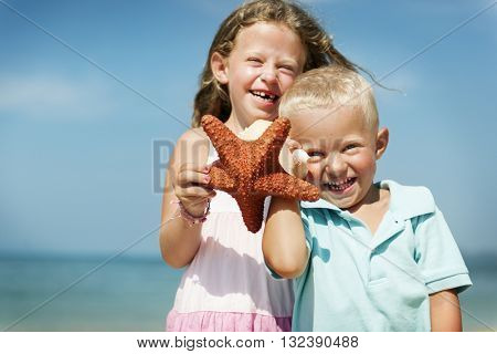 Beach Blond Child Starfish Cute Adolescence Sea Concept
