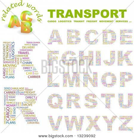 TRANSPORT. Vector letter collection. Wordcloud illustration.