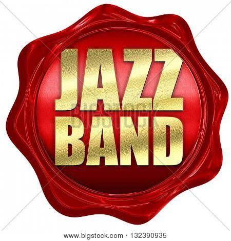 jazz band, 3D rendering, a red wax seal