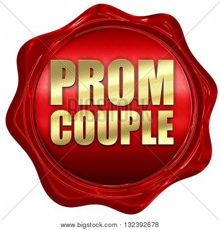prom couple, 3D rendering, a red wax seal