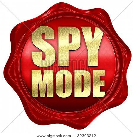 spy mode, 3D rendering, a red wax seal