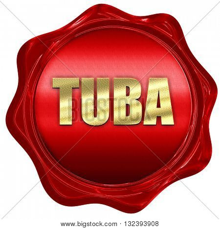 tuba, 3D rendering, a red wax seal