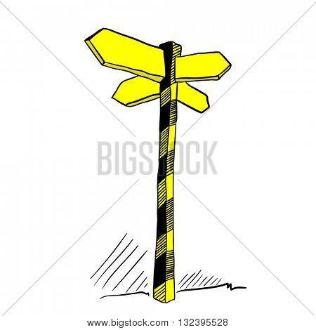yellow empty cartoon illustration of crossroads sign