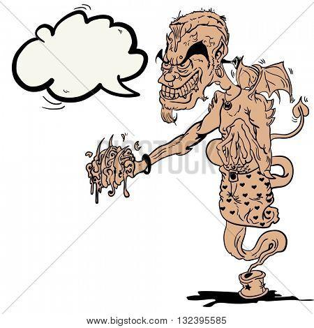 devil ginnie with speech bubble cartoon