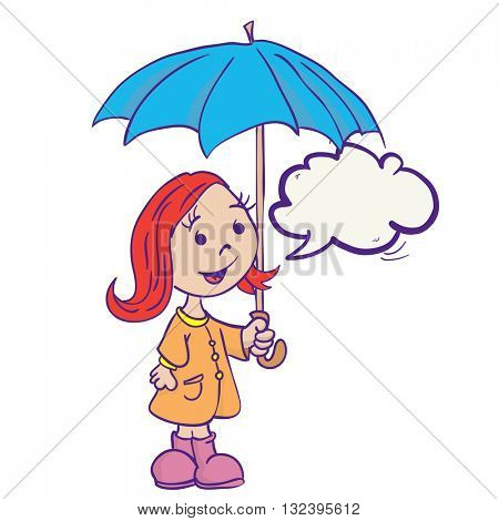 little girl with umbrella and speech bubble cartoon