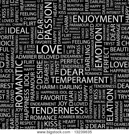 LOVE. Seamless vector pattern with word cloud. Illustration with different association terms.