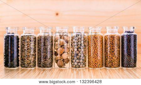 Assorted Of Spice Bottles Condiment  Black Pepper ,white Pepper,  Black Mustard,white Mustard,fenugr