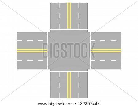 3d illustration of simple road intersection. icon for game web. texture color. white background isolated.
