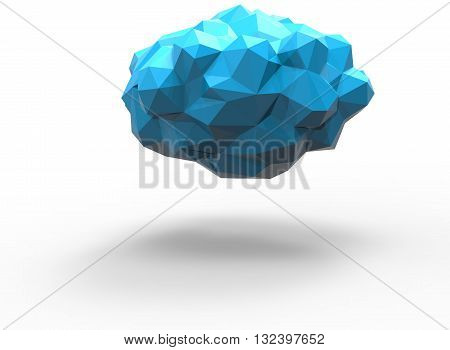 3d illustration of simple cloud. low poly triangles and polygons style. icon for game web. blue texture color. white background isolated with shadow. simple to use.