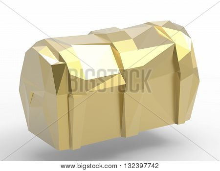 3d illustration of simple chest. simple to use. low poly style. on white background isolated with shadow. icon for game or web. gold colors. banner treasure. pirates