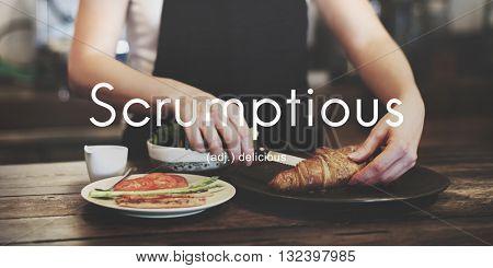 Scrumptious Delicious Appetizing Food Graphic Concept