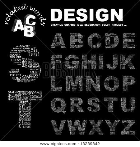 DESIGN. Vector letter collection. Illustration with different association terms.