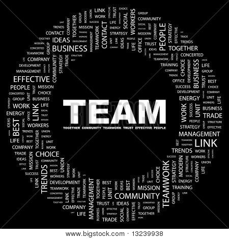 TEAM. Word collage on black background. Illustration with different association terms.