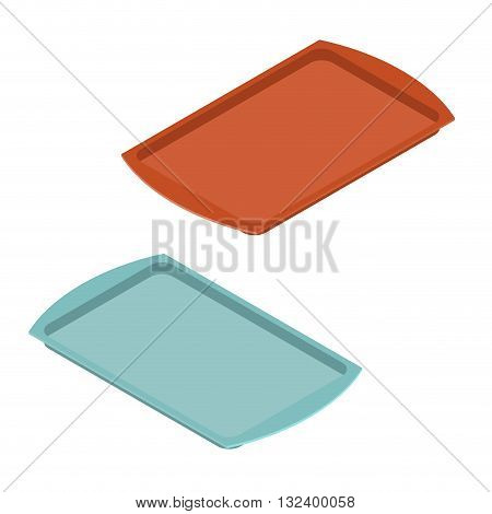 Empty Tray For Food. Plastic  Salver For Meal. Kitchenware. Pan For Fast Food
