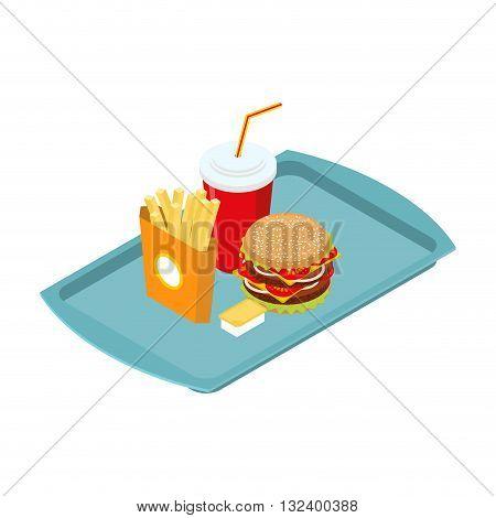 Fast Food Set On Tray Isometric. Frying Potatoes. Big Hamburger. Fresh Burger With A Chop. Cheese Sa